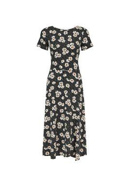 Black Daisy Print Midi Skater Dress by Dorothy Perkins