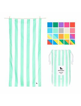 Dock & Bay Sand Proof Beach Towels Portable   Narabeen Green, Extra Large (200x90cm, 78x35)   Mint Green Striped Design Travel Towel by Dock & Bay