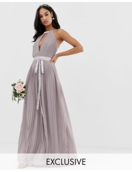 Tfnc Pleated Maxi Bridesmaid Dress With Cross Back And Bow Detail In Grey by Tfnc