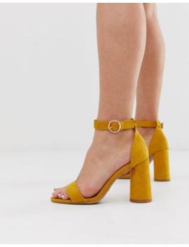 Pimkie Block Heel High Sandals In Yellow by Pimkie