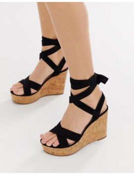 Truffle Collection Tie Ankle Wedges by Wedges