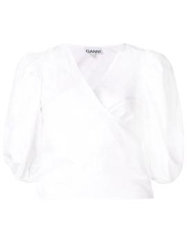 Short Sleeve Wrap Blouse by Ganni