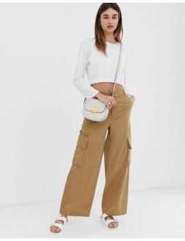 Asos Design Wide Leg Chino Trouser With Utility Pockets by Asos Design