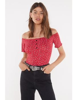 Button Down Frill Sleeve Bardot Body by Nasty Gal