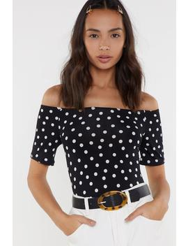 Dot So Fast Off The Shoulder Bodysuit by Nasty Gal