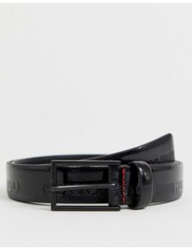 Hugo Gild Logo Leather Belt In Black by Hugo