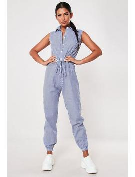 Blue Striped Sleeveless Jumpsuit by Missguided
