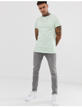 Asos Design Crew Neck T Shirt With Roll Sleeve In Green by Asos Design