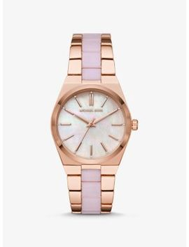Channing Rose Gold Tone And Acetate Watch by Michael Kors