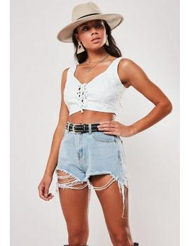 White Broderie Anglais Lace Up Top by Missguided