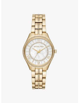 Mini Lauryn Pavé Gold Tone Watch by Michael Kors