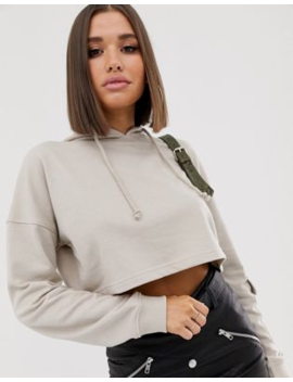 Missguided Cropped Hoodie In Beige by Missguided