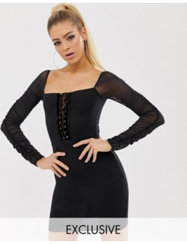Pretty Little Thing Exclusive Bodycon Mini Dress With Mesh Sleeve In Black by Pretty Little Thing