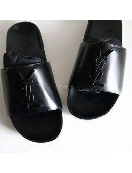 bn-saint-laurent-leather-joan-slides-black-ysl-logo-slip-on-sandals-flats-355 by saint-laurent