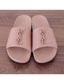 Saint Laurent Paris 495$ Authentic New 'joan 05' Slides In Light Rose Leather by Saint Laurent Paris