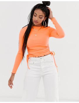 Asos Design Crew Neck Fitted Top With Ruched Sides by Asos Design