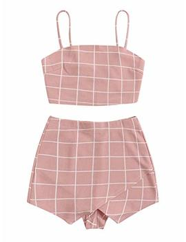 Floerns Women's Spaghetti Strap Plaid Crop Top And Overlap Shorts Set by Floerns