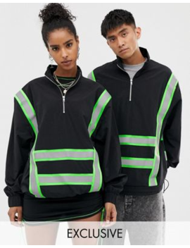Collusion Unisex Windbreaker Jacket With Reflective Tape by Collusion