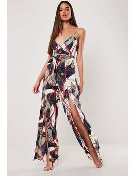 Cream Chain Print Wrap Front Wide Leg Jumpsuit by Missguided
