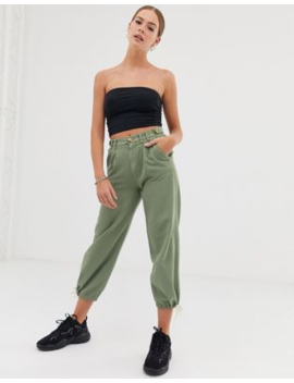 Bershka Button Top Trousers In Khaki by Bershka