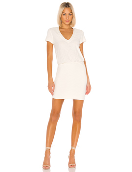 Short Sleeve V Neck Blouson Dress by James Perse