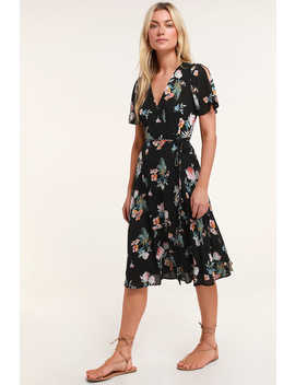 Jet Set For Sun Black Tropical Print Wrap Midi Dress by Lulus