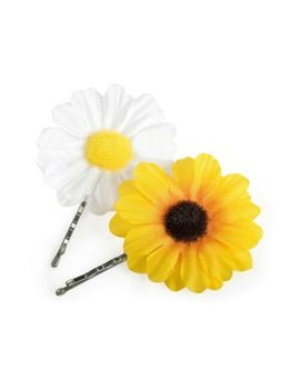 2pc Hair Clip Flower Daisy Slide Pin Bridesmaid Festival Summer Yellow White by Be Ruled