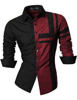 Jeansian Men's Slim Fit Long Sleeves Casual Button Down Dress Shirts 8397 by Jeansian