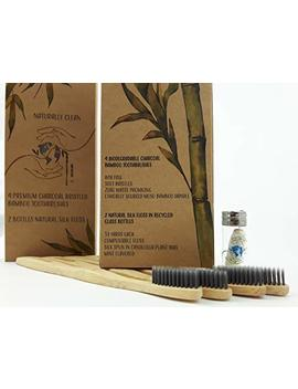 All Natural, Eco Friendly, Organic | 4 Soft, Charcoal Infused Premium Bamboo Toothbrushes And 2 Glass Bottles Of Compostable Peppermint Silk... by Salish Series