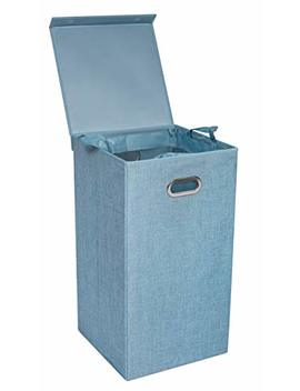 Bird Rock Home Single Laundry Hamper With Lid And Removable Liner | Light Blue | Linen | Easily Transport Laundry | Foldable Hamper | Cut Out Handles by Birdrock Home