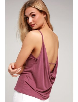 Intuition Washed Berry Purple Backless Tank Top by Lulus