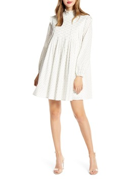 Ditsy Cotton Long Sleeve Shift Dress by English Factory