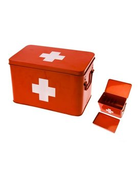present-time-red-with-white-cross-metal-medicine-storage-box,-large by present-time