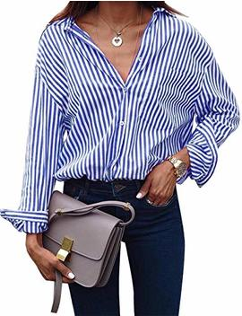 Grapent Women's Casual Button Down Vertical Striped T Shirts Long Sleeve Tops by Grapent