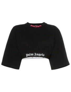 Logo Trim Cropped T Shirt by Palm Angels