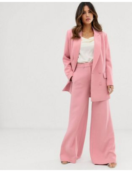 Asos Edition Double Breasted Jacket & Wide Leg Pants In Dusky Pink by Asos Brand