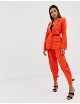 Parallel Lines Tie Waist Blazer & Pants Two Piece by Asos Brand