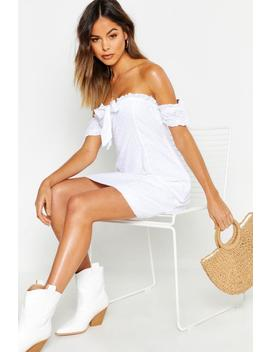 Broiderie Anglaise Tie Front Skater Dress by Boohoo