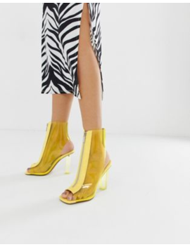 Asos Design Energise Clear Heeled Boots by Asos Design