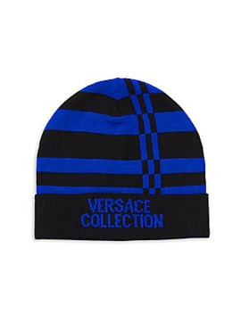 Logo Stripe Beanie by Versace Collection