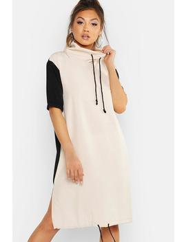 Woven Cowl Neck Draw Cord Midi Dress by Boohoo