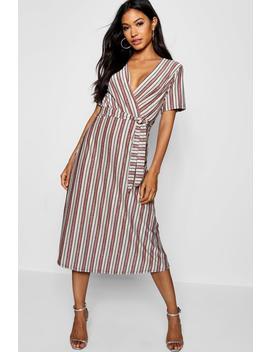 Metallic Stripe Wrap Midi Dress by Boohoo