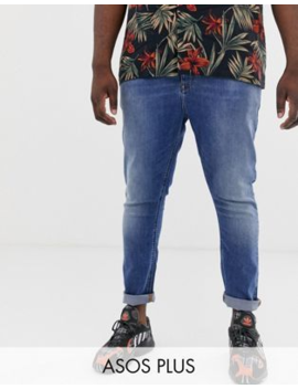 Asos Design Plus Spray On Jeans In Power Stretch Denim In Mid Wash Blue by Asos Design