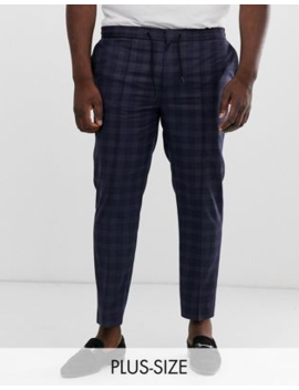 River Island Big &Amp; Tall Smart Jogger In Navy Check by River Island