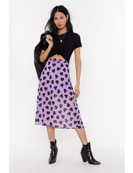 Heart Print Bias Cut Midi Skirt by Nasty Gal
