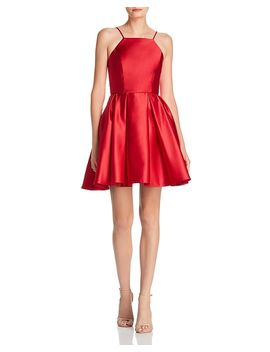 Satin Fit And Flare Dress by Avery G