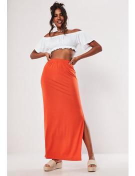 Orange Jersey Side Split Maxi Skirt by Missguided