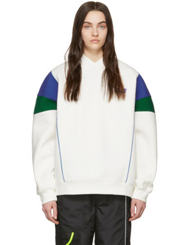 Ssense Exclusive White &Amp; Blue Ascc Colorblock Sleeve Sweatshirt by Ader Error
