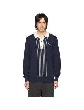 Navy Striped Monogram Rugby Polo by AimÉ Leon Dore