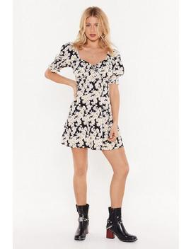 Puff Sleeve Square Neck Floral Mini Dress by Nasty Gal
